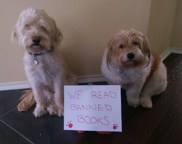 Our dogs read banned books